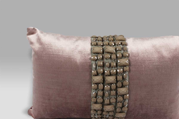 Cuscino 40x25 BRO6 velluto fascia perle quadrate rosa Bagnaresi Casa