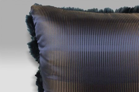 Cuscino 50x50 Ecopelliccia pelo lungo blu notte seta Bagnaresi Casa