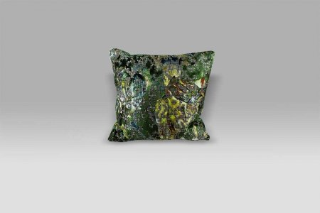 Cuscino 40x40 Bardiglio Emerald velluto operato e raso Designers Guild
