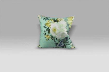Cuscino 55x55 Proserpine Pale Jade lino stampa fiore Designers Guild