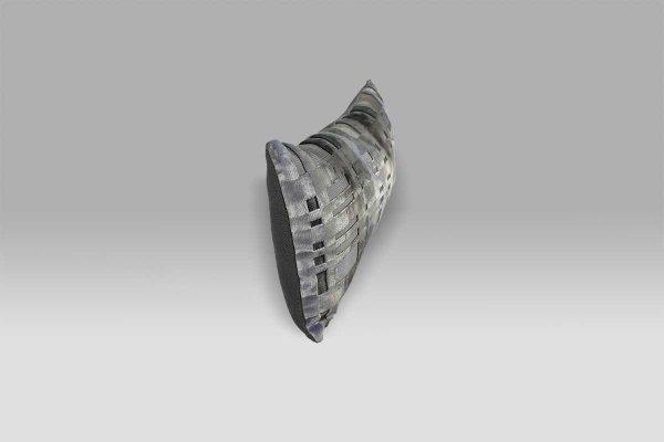 Cuscino 60x30 Colonnade Zinc velluto operato e lino Designers Guild