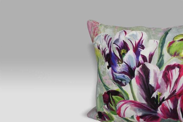 Cuscino 60x45 Tulipa Stellata Fuchsia lino stampato Designers Guild