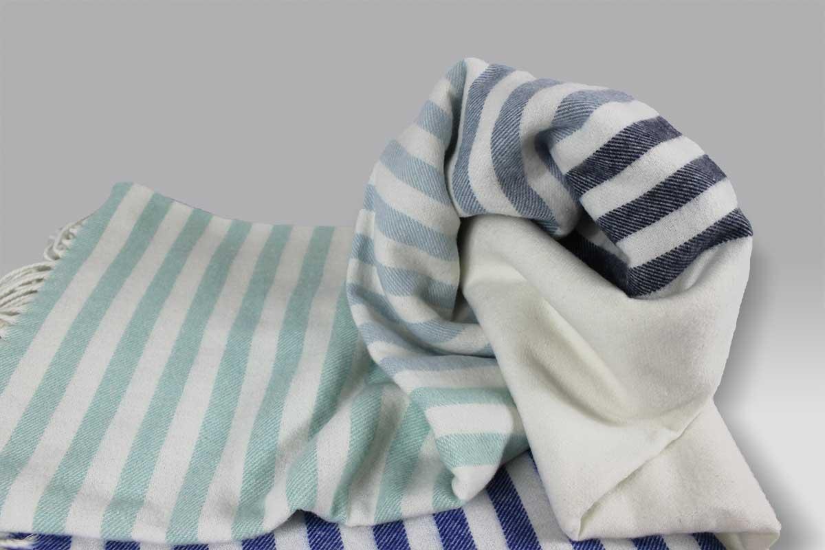 Plaid Mattonelle Cobalt righe bluette Designers Guild