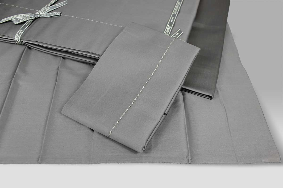 Completo Lenzuola Pergamon grigio con impuntura creta Mastro Raphael