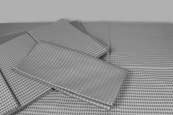 Completo Lenzuola Pierangela raso di puro cotone fantasia geometrica grigio Dea