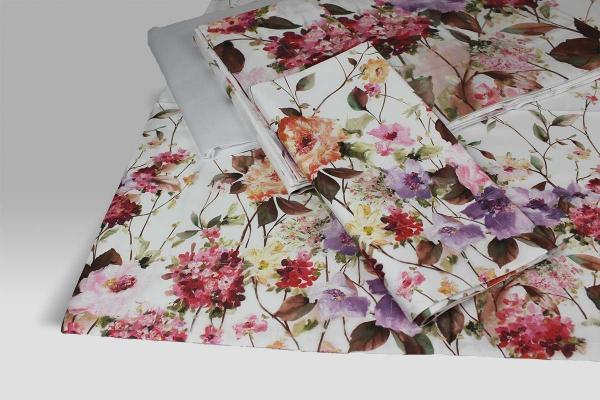 Completo Lenzuola con risvolto Certaldo stampa floreale su raso di cotone Dea