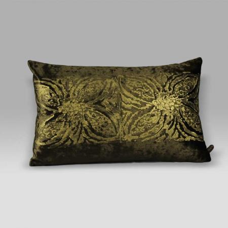 Cuscino Bagnaresi Casa 25x40 velluto stampa oro