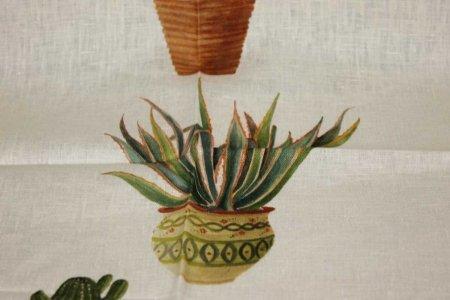 Canovaccio Kactus viola lino stampato Tessitura Toscana Telerie