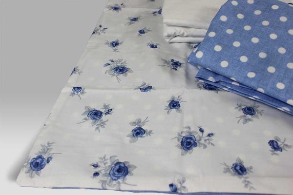 Completo Lenzuola Aphrodite White Linen blu