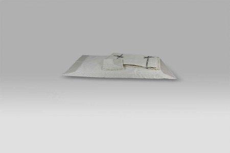 Completo Lenzuola Fontainbleau raso ricamo metallico avorio Mastro Raphael