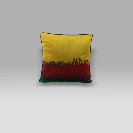 Cuscino 50x50 Henry velluto giallo-rosso-verde Foresti Home Collection