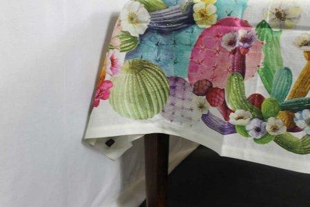 Tovaglia Kactus lino stampato Tessitura Toscana Telerie