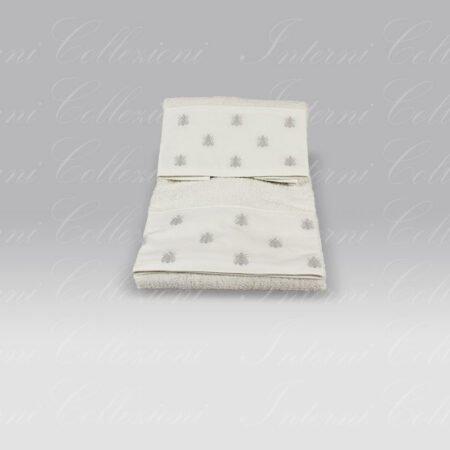 Coppia Spugna Api Bath Linens bianco ricamo grigio Mastro Raphael