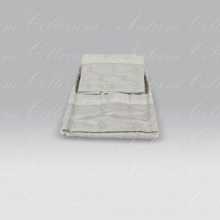 Coppia Spugna Api Bath Linens grigio chiaro ricamo grigio Mastro Raphael
