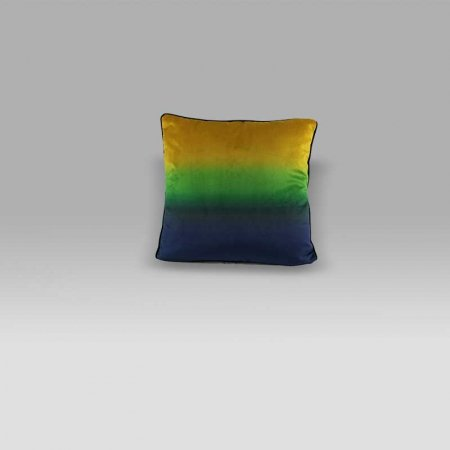 Cuscino 50x50 Rothko velluto sfumato giallo-verde-blu Foresti Home Collection