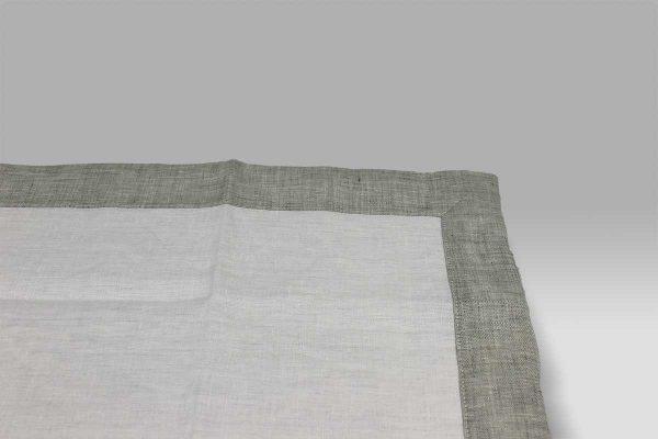 Set 4 Sottopiatti lino con bordo applicato 9A bianco-grigio Mastro Raphael