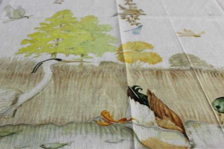 Tovaglia Eden lago stampa piazzata su lino Tessitura Toscana Telerie