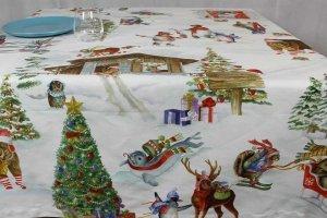 Tovaglia Snowy Christmars Tessitura Toscana Telerie
