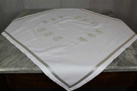Quadrato Campane bianco ricamo argento Dea