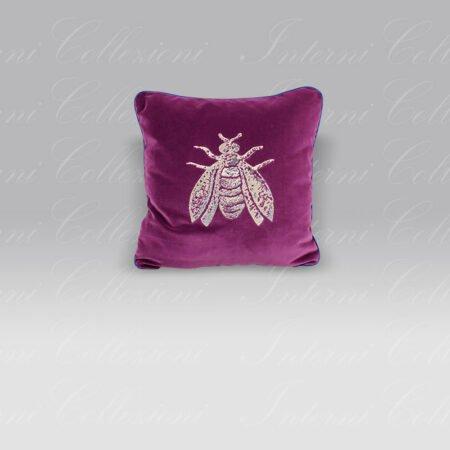 Cuscino Velluto ricamo Ape lurex rosa-violetto Mastro Raphael