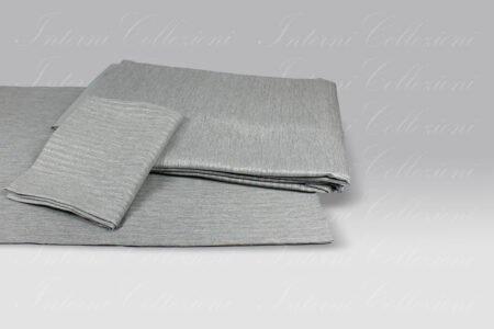 Completo Copripiumino Luce grigio lurex argento Dea