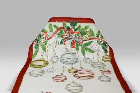 Canovaccio La Table Au Noel rouge Tessitura Toscana Telerie