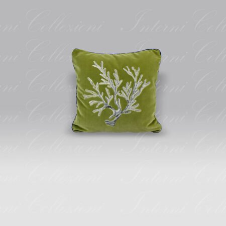 Cuscino Velluto ricamo Corallo lurex verde Mastro Raphael