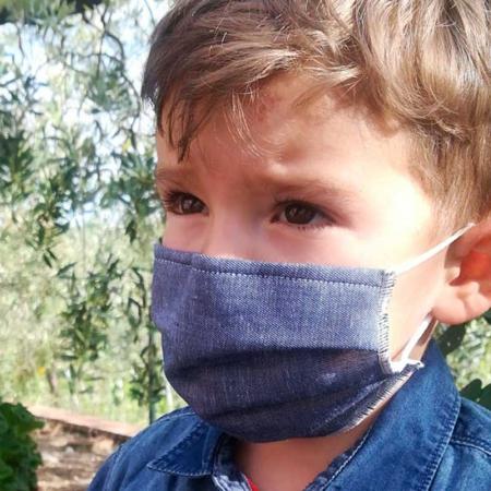Mascherina Lino Baby jeans Opificio Dei Sogni