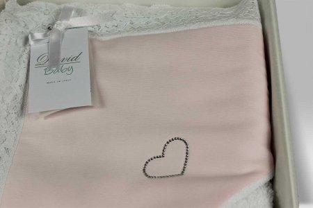 Accappatoio Triangolo Baby Dolce Cuore bianco rosa David Home Collection Baby