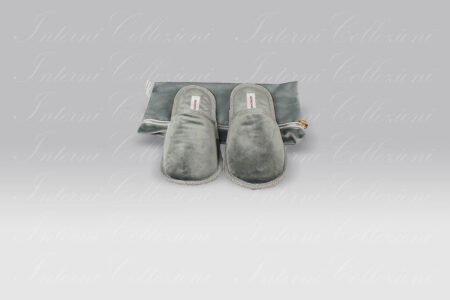 Pantofole Living velluto grigio Borbonese