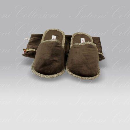 Pantofole Living velluto marrone Borbonese