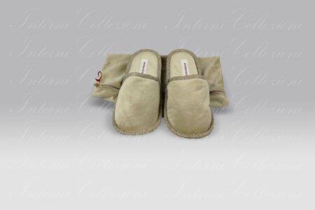 Pantofole Living velluto tortora Borbonese
